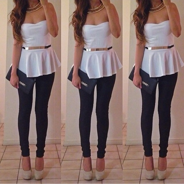 shirt white gold black silver belt necklace cute high heels nude nude high heels tube top peplum peplum top sexy bag handbag yoga pants pants shoes jewels