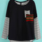 Navy long sleeve contrast striped pocket t-shirt - sheinside.com