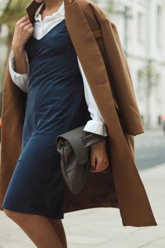 dress tumblr blue dress midi dress dress over t-shirt shirt white shirt slip dress coat camel coat fall outfits