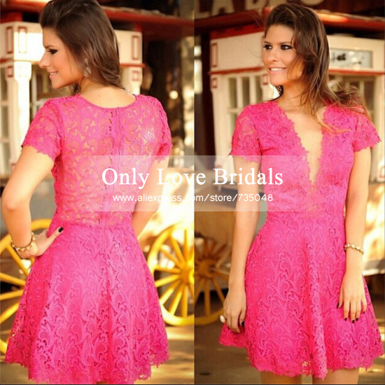 Aliexpress.com : buy high quality deep v neck short sleeves sexy party dress appliques lace a line short cocktail dress cheap vestido de festa 2015 from reliable dress blue belt buckle suppliers on only love bridals
