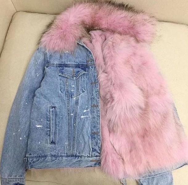 6532a00bd5ca coat jean pink fur denim jacket fur denim jacket vue boutique navy burgundy jacket  fur fur