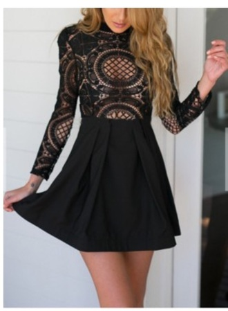 dress crochet long sleeves black fit and flare dress black dress short dress homecoming dress