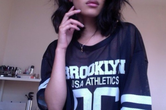 black fishnet t-shirt white jersey brooklyn