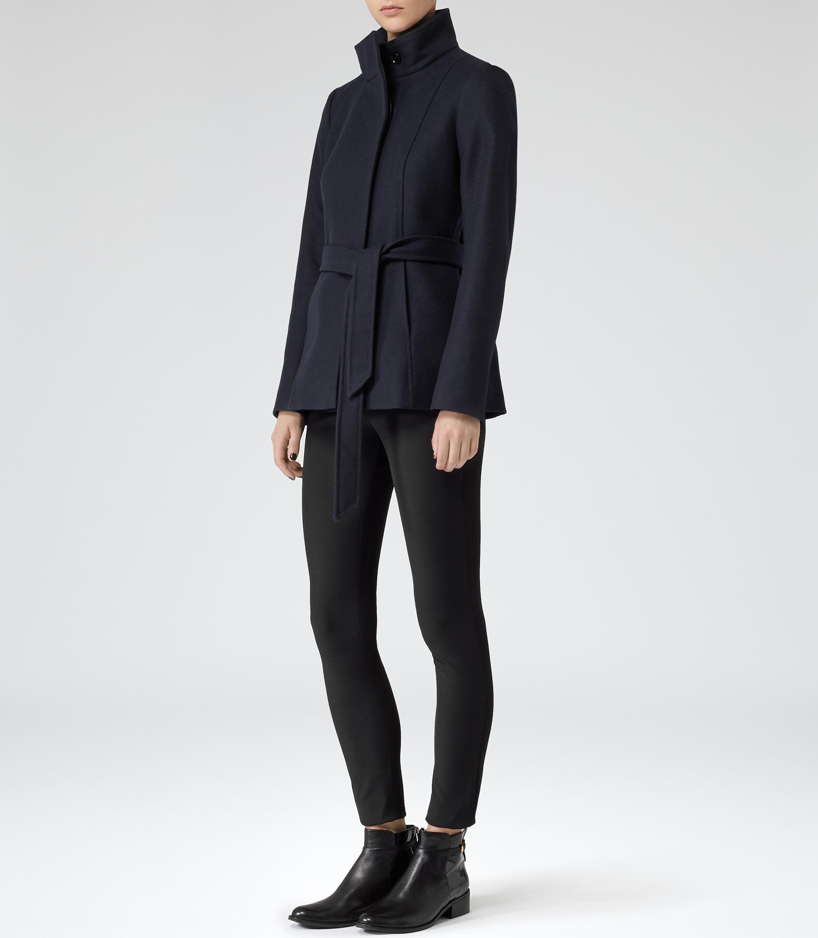 Hermitage Lux Navy Belted Wool Jacket - REISS