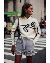 shorts,striped shorts,High waisted shorts,jumper,white shirt,shoulder bag
