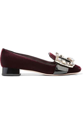 embellished pumps leather velvet burgundy shoes