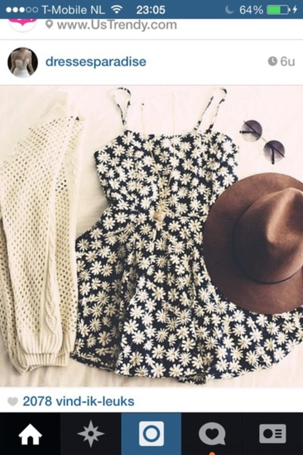 dress daisy dress crochet sweater daisy hat sweater