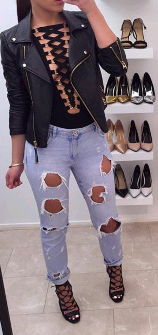 Top Black Leather Jacket Lace Up Lace Up Heels Lace