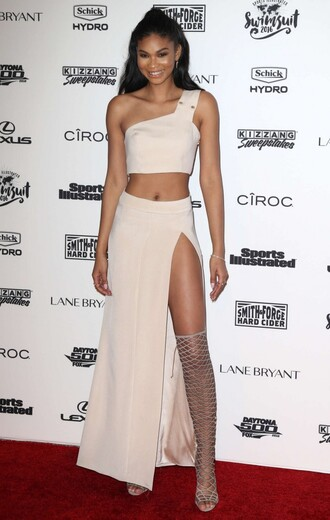 skirt slit skirt chanel iman sandals gladiators crop tops two-piece