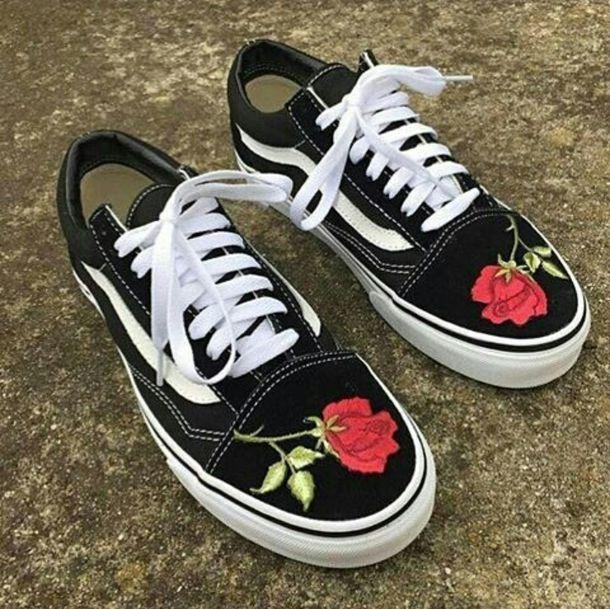 276bc3bb65eb shoes vans black old skool low top sneakers rose roses white