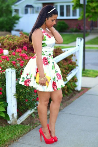 dress floral dress white dress skater dress short sleeve dress