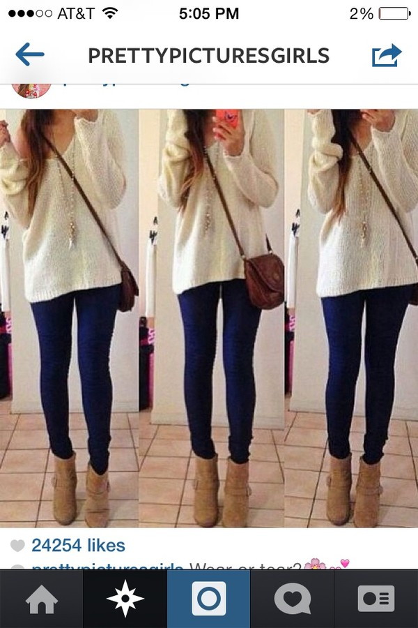 sweater oversized sweater blue jeans handbag shoes
