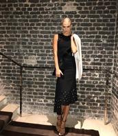 jacket,blazer,black dress,midi dress,Paris Fashion Week 2017,sandals,karlie kloss,model,instagram