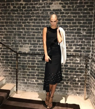 jacket blazer black dress midi dress paris fashion week 2017 sandals karlie kloss model instagram