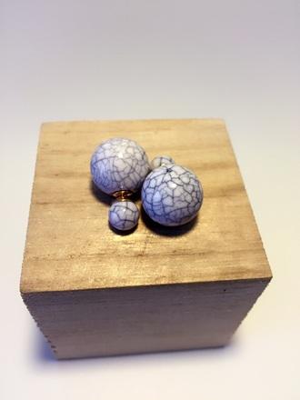 jewels earrings ball earrings 2016 fashion jewelry marble double sided earrings