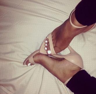 shoes beige black heels high heels beige high heels strappy heels strappy open toes plant pants black pants white white nails nails nail poilish peep toe peep toe heels