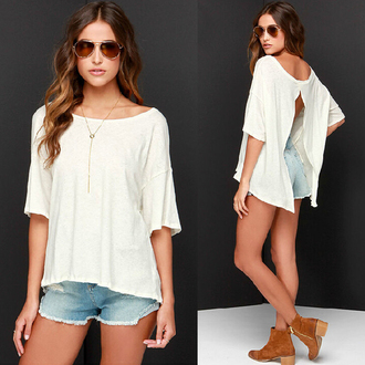 blouse top white blouse summer top fashion sexy casual t-shirt backless