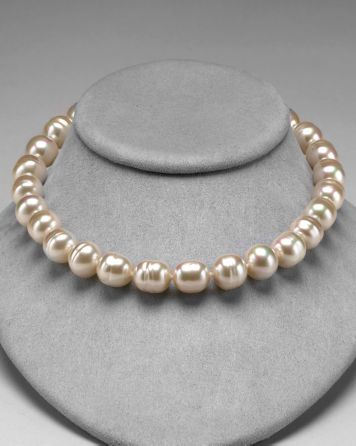 Majorica Baroque Man-made Pearl Necklace in Champagne and White, 17"