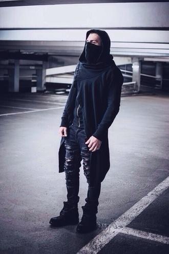coat street goth blvck fashion dark mens skinny jeans mens ripped jeans