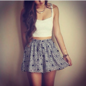 skirt,dress,white,bralette,necklace,floral,jewels,t-shirt,shirt,tank top,bandeau top,lace,black,pattern,top,shorts,flowy shorts,crop tops,black and white,gold,summer,2014,lace top,bracelets,cute,printed shorts,skater skirt,white half shirt,white crop top beautiful,gold necklace,gold bracelet,outfit,floral skirt,white top,flowy,white crop tops,lace crop top,like,cropped,sweet,bandeau,cute outfits,black and white skirt,patterned skirt