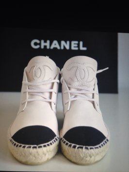 Chanel White/black Espadrilles Flats