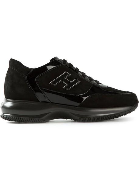 Hogan women sneakers suede black shoes