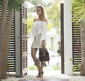 the vogue word,blogger,jewels,white skirt,mini skirt,off the shoulder,white top,backpack,louis vuitton,wedges,mini backpack,louis vuitton backpack