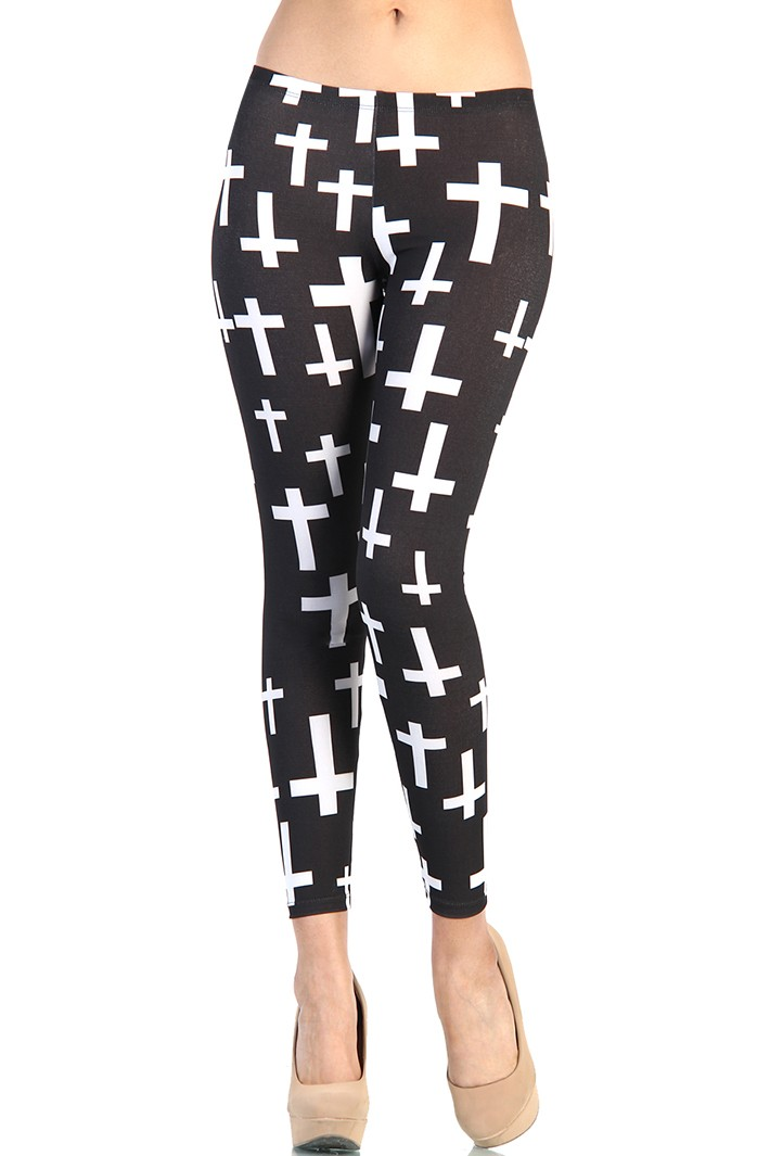 Black and white cross print leggings