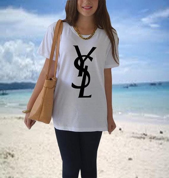 Ys t shirt white and black crewneck black logo by celebritee