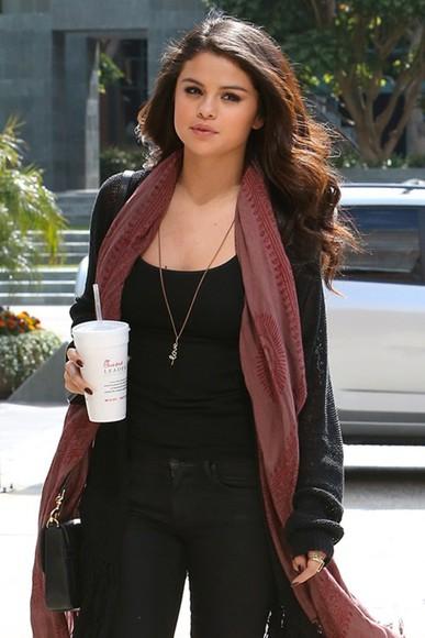 jeans top jewels scarf cardigan