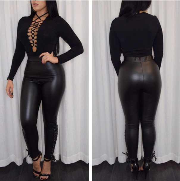 Pants tight diva boutique black leather leather pants lace up tie up high waisted - Diva pants recensioni ...