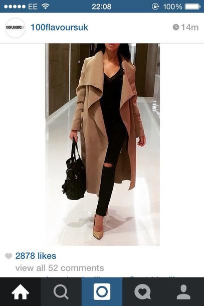 coat camel coat waterfall coat kim kardashian style