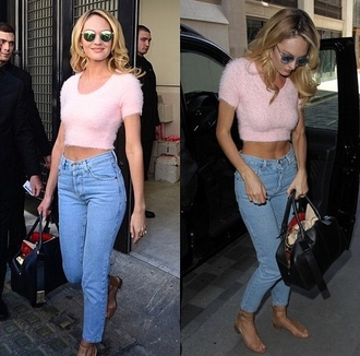 jeans shirt shoes blouse pink furry blouse blonde hair sunglasses candice swanepoel boyfriend jeans mom jeans skinny jeans