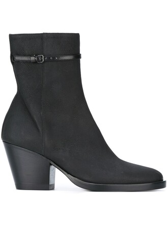 heel women boots ankle boots leather black shoes