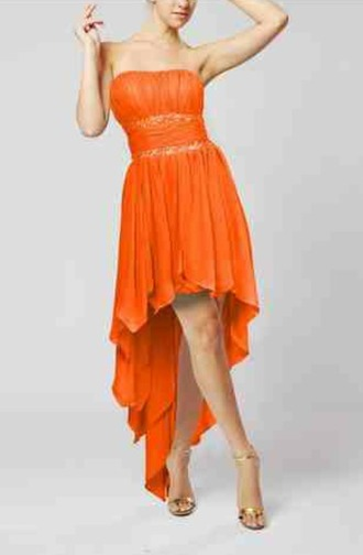 dress orange orange dress prom dress bridesmaid