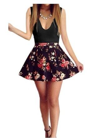 dress v neck floral trendy hot sleeveless