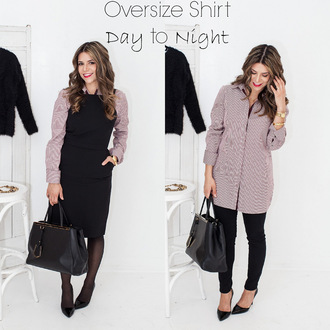 the corporate catwalk blogger office outfits oversized black dress shirt dress shoes bag tights pants