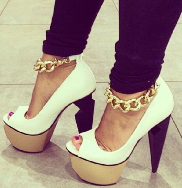 Shoes: gold chain, heels, privileged, mercer, white heels, gold ...