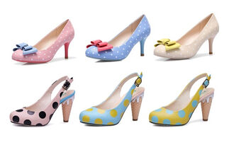 sweet cute shoes 50s style womens shoes pin up beige yellow pink shoes polka dots