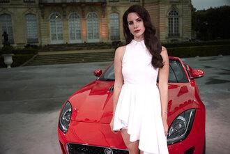 dress lana del rey white dress brunette high low dress