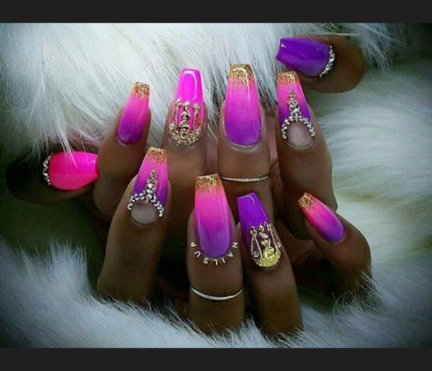 nail polish, nails, pink, purple, long nails - Wheretoget