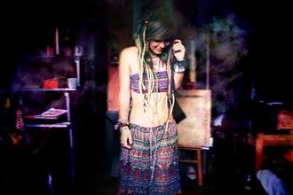 underwear hippie bandeau skirt multicolor rainbow