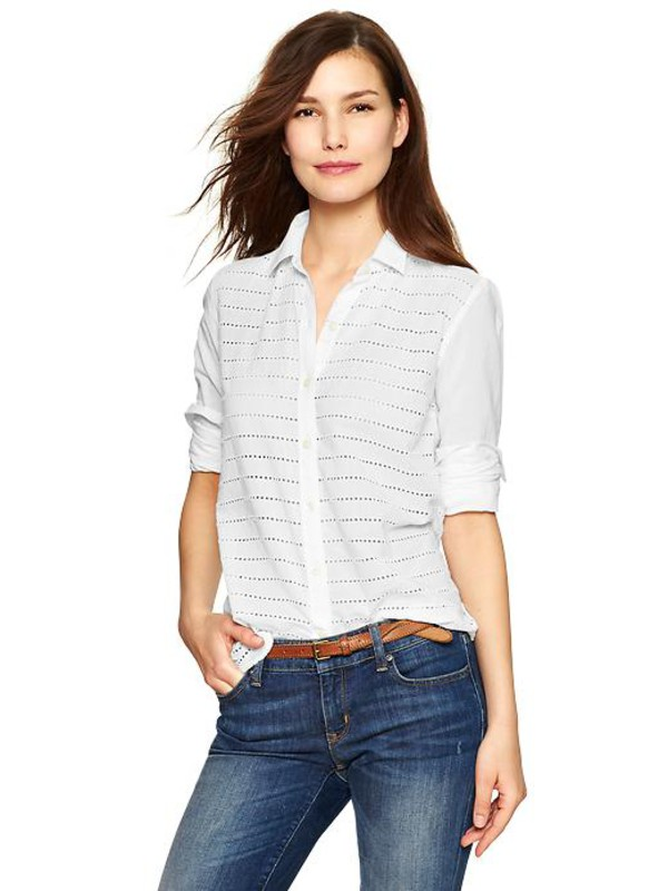 gap fitted boyfriend eyelet stripe shirt off-white womens long sleeved 981181004