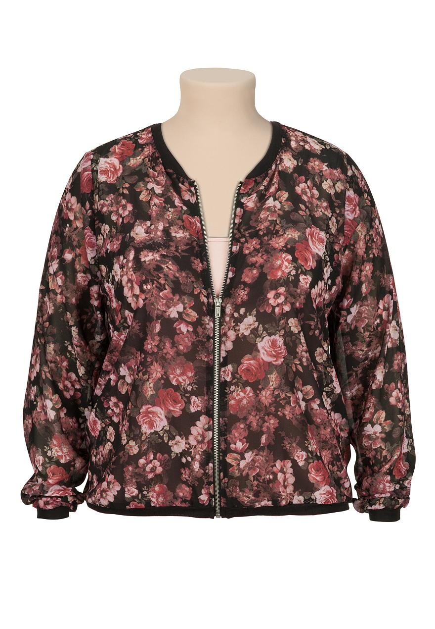 floral chiffon zip front plus size jacket