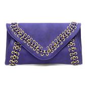 bag,purple braided clutch,royal blue clutch,embellished clutch,braided clutch,blue clutch,purple purse,clutch,oversized envelope clutch,studded handbag