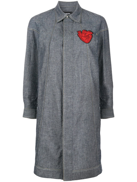 Dsquared2 dress shirt dress heart embroidered women leather cotton blue