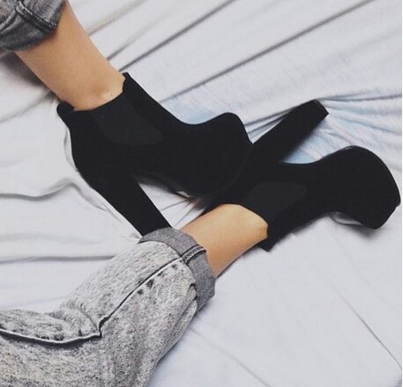shoes boots black chelsea boots high heels black boots ankle boots