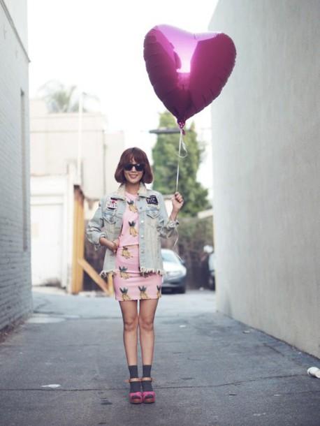 jullianne blogger pineapple print pink dress denim jacket