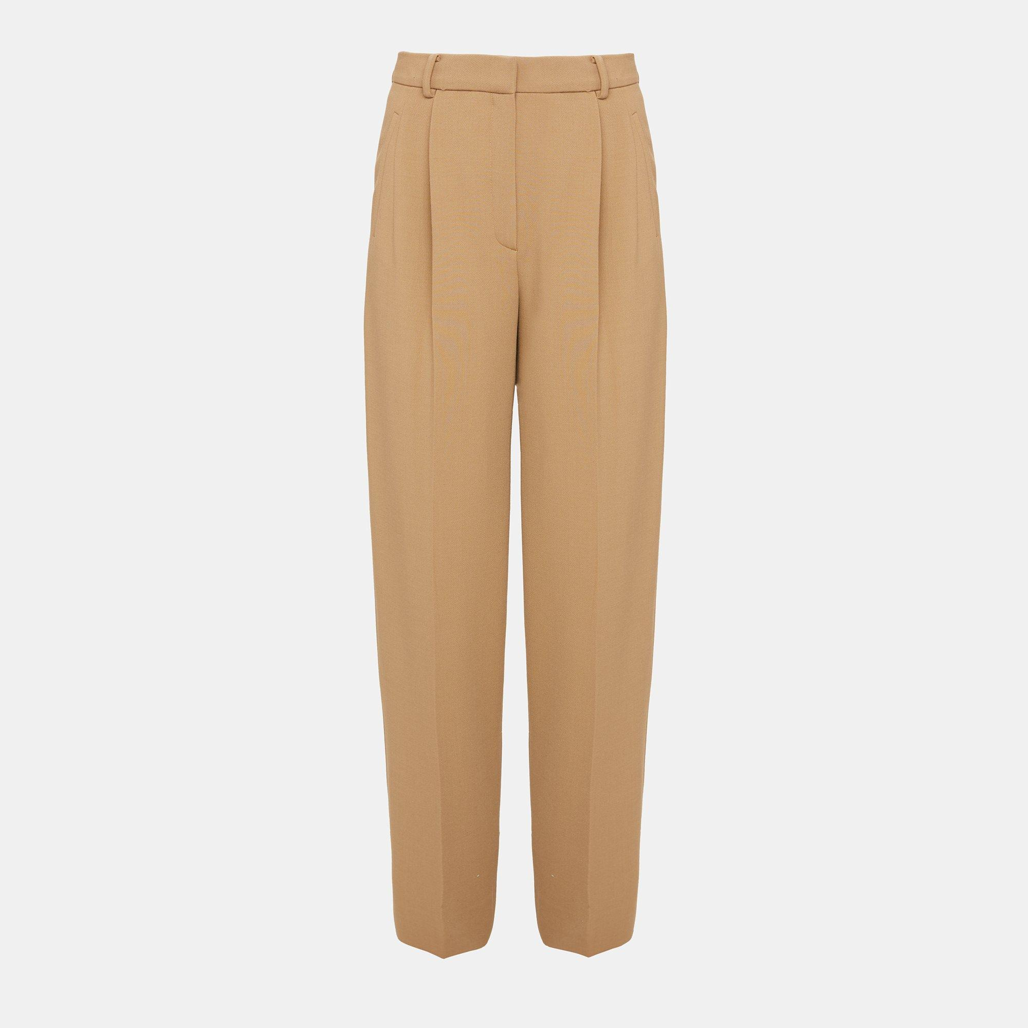 Stretch Wool Pleated High-Waist Pant