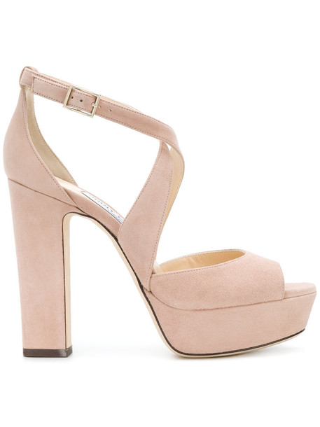 Jimmy Choo women sandals leather nude suede shoes